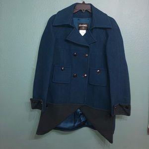 Chanel two tone wool pea coat jacket teal 40